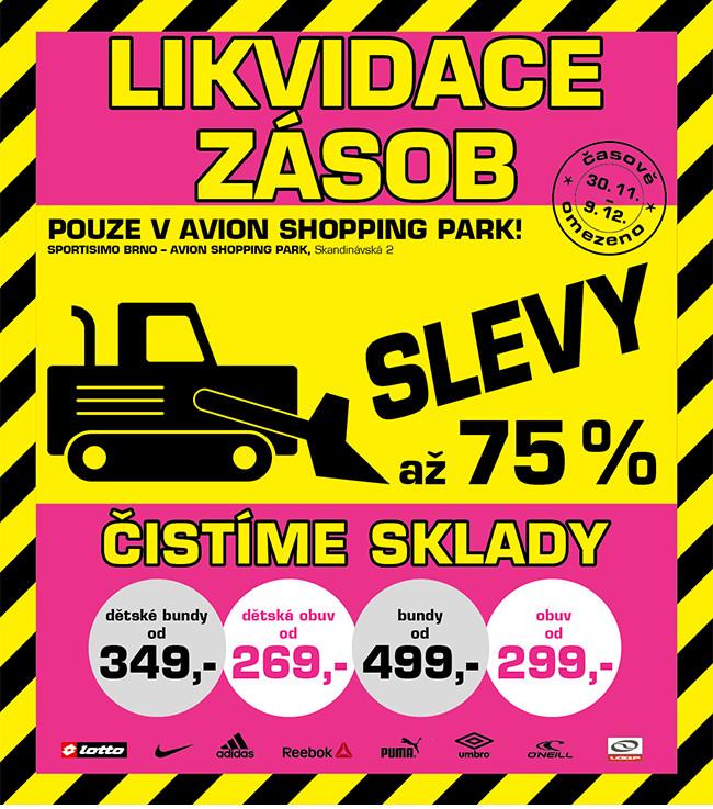 8c088652358 LIKVIDACE ZÁSOB  Prodejna SPORTISIMO v Brně. SLEVY až 75 ...