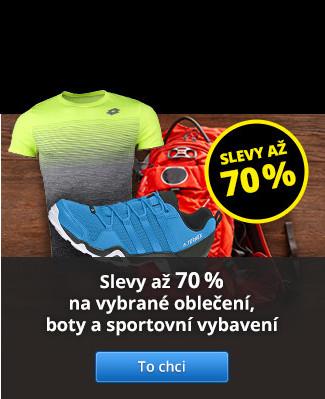 Slevy až 70 % na vybrané oblečení, boty a sportovní vybavení