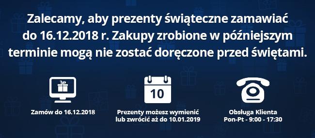 Zalecamy, aby prezenty świąteczne zamawiać do 16.12.2018 r. Zakupy zrobione w późniejszym terminie mogą nie zostać doręczone przed świętami.