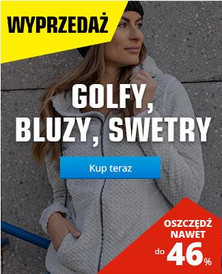 Golfy, bluzy, swetry 45 %