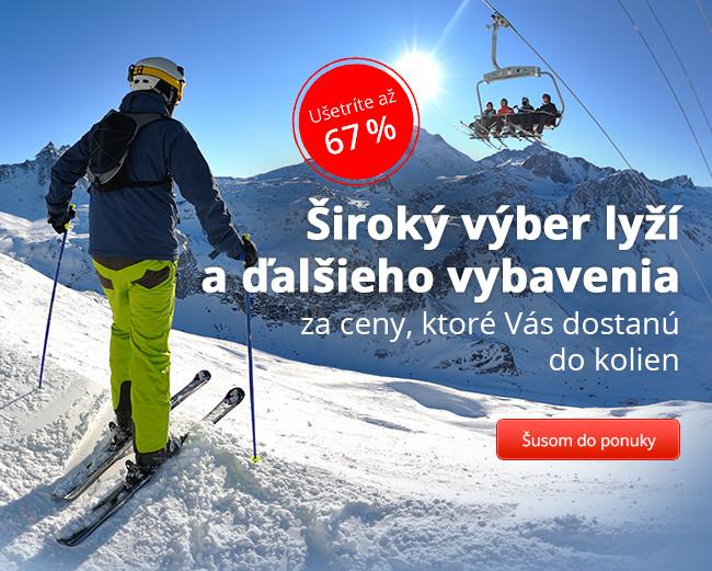 Široký výber lyží a ďalšieho vybavenia