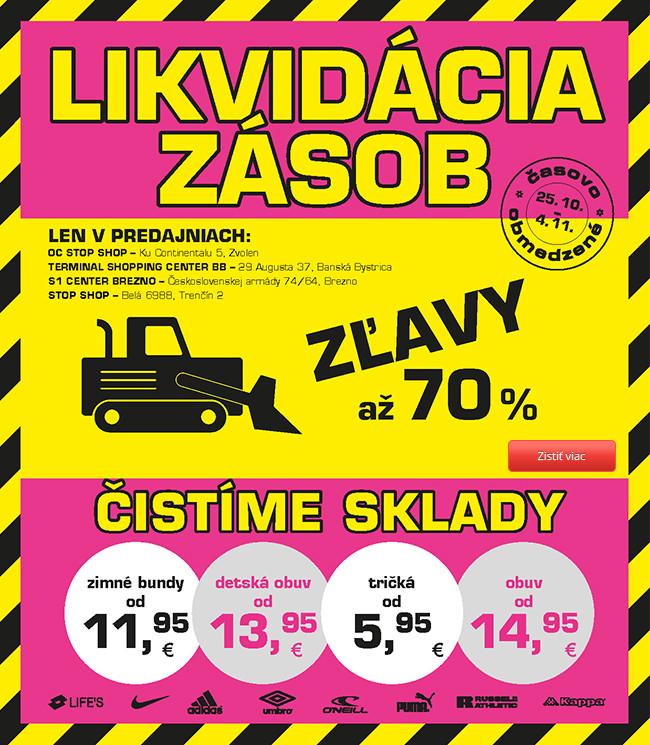 Likvidácia – až 70% zľavy!