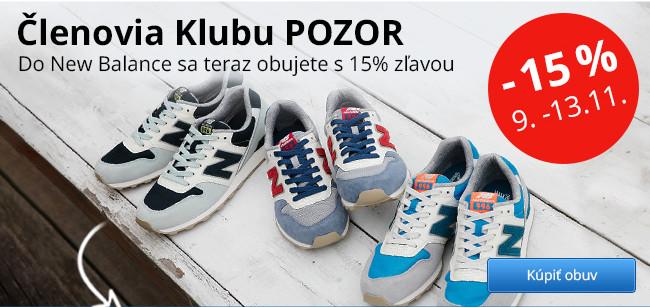 Akcia pre členov Klubu - zľava 15 % na obuv New Balance