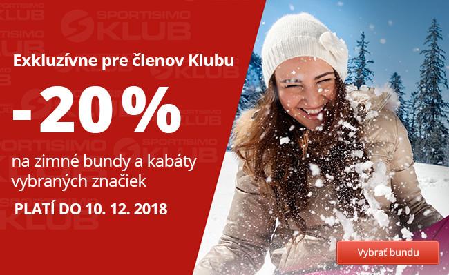 20% zľava na zimné bundy a kabáty vybraných značiek