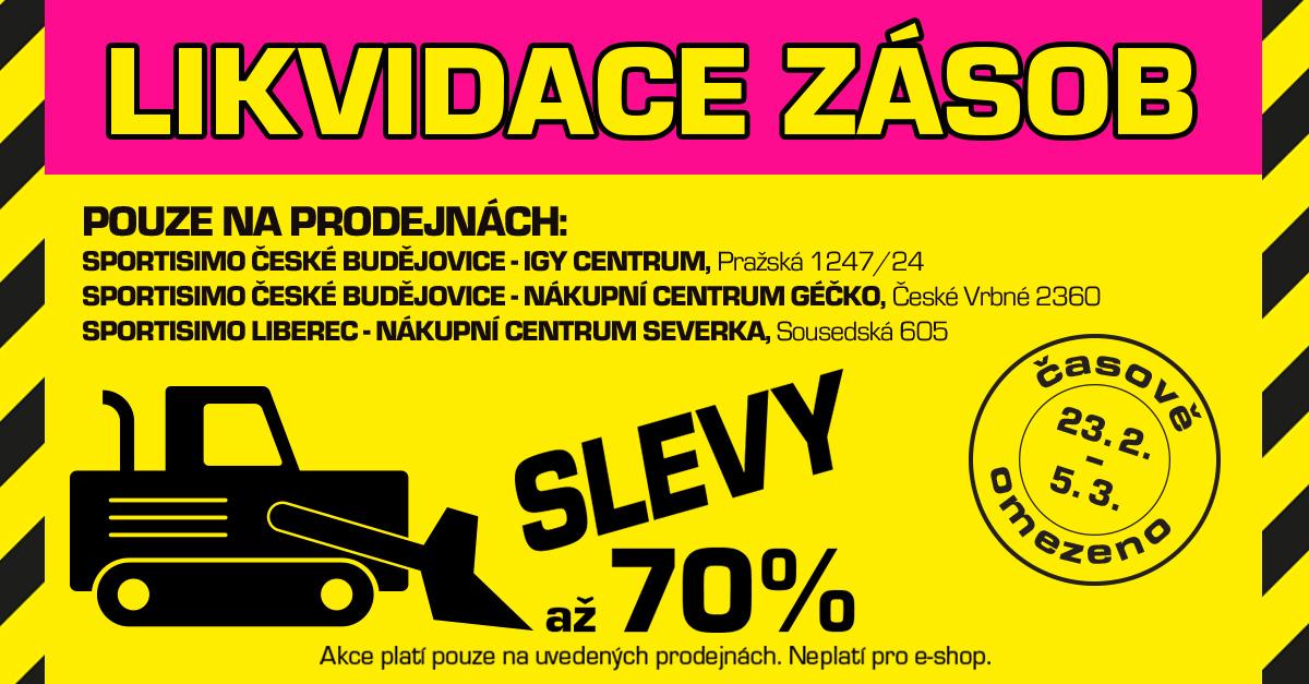 Ušetřete až 70 %! LIKVIDACE ZÁSOB v Českých Budějovicích a Liberci