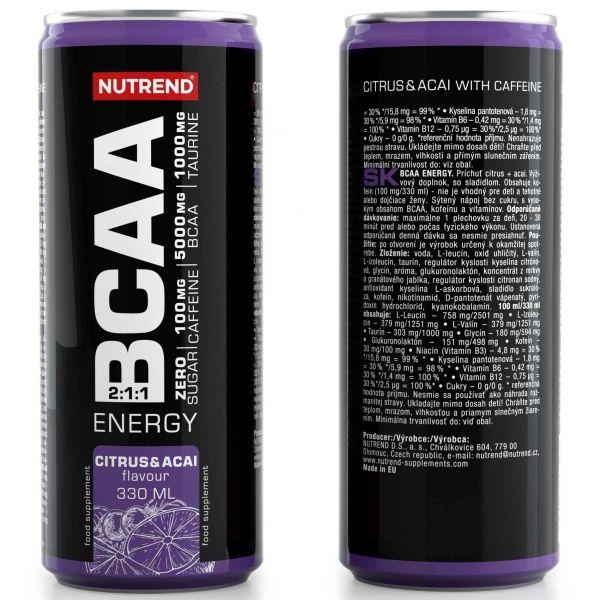 Nutrend BCAA ENERGY 330ML CITRUS + ACAI - Aminokyseliny větvené